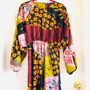 Zara Multi-Floral Patterned Puff Sleeve Dress